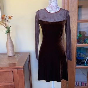 Cache Velvet Mesh Long Sleeve Dress